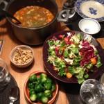 middag soppa sallad valnötter